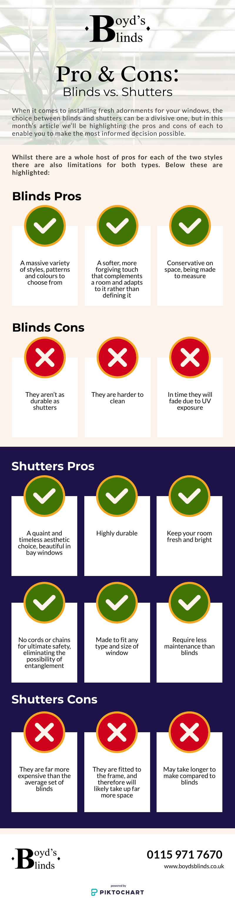 Pros & Cons: Blinds vs Shutters (Infographic)