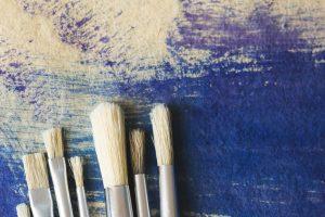 Paint brushes on wood